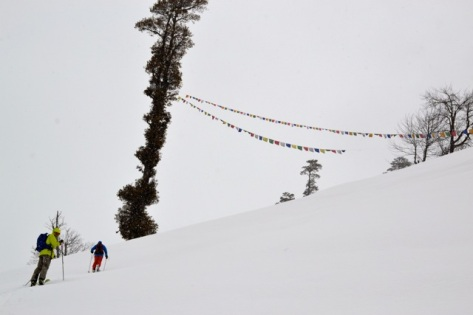 Skinning up amidst the prayer flags in Manali, India, March 2014