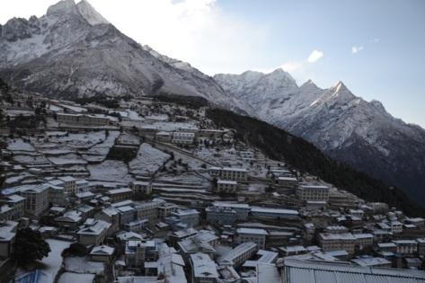 Snowfall on Namche Bazaar Khumbu Region, Nepal